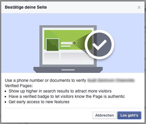Verifizierung Facebook Seite Los Gehts